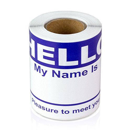 """Hello My Name is Stickers Labels Nametags Visitor Sticker Badges Write on Adhesive Color Simple Basic Blank [Dark Blue] -2-5/16"""" x 4"""" Inch 100 Stickers Labels per Roll"""