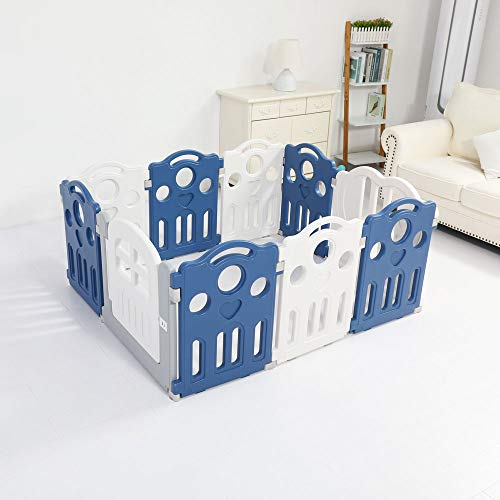 Premium Quality 122x148cm Kids Baby Playpen Toddler Baby Safety Gate Room Home Indoor (White and Blue)