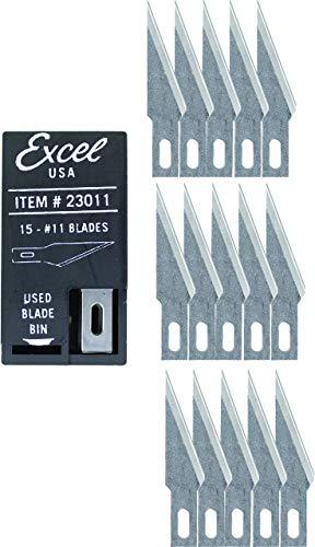 Excel messen # 11 precisie lemmet, dubbel geslepen hobby mes, 15 stuks met dispenser