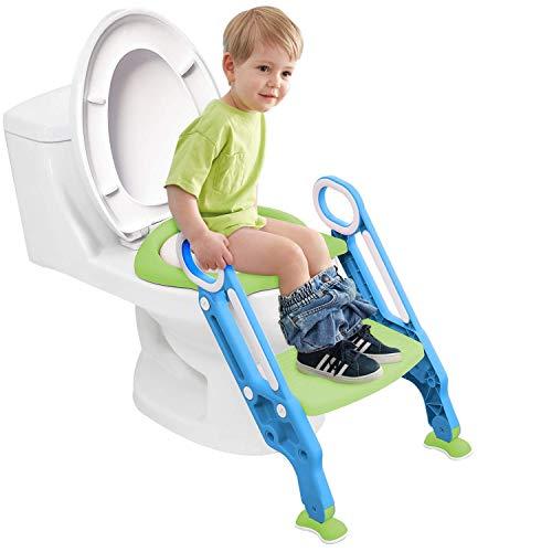 Töpfchen-Trainer Toilettensitz Kinder,YEEGO DIRECT Baby Potty Training Seat Verstellbarer Kinder Toilettensitz mit Treppe,Weiche Matte,Spritzschutz Zusammenklappbar,Junge und Mädchen Baby(Blau Grün)