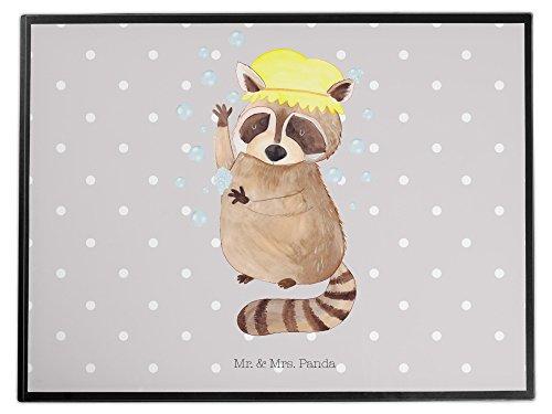 Mr. & Mrs. Panda Büro, Kinder, Schreibtischunterlage Waschbär - Farbe Grau Pastell