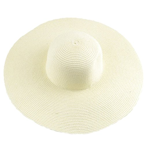 AngelCity Brides Womens Beach Hat Striped Straw Sun Hat Floppy Big Brim Hat Navy