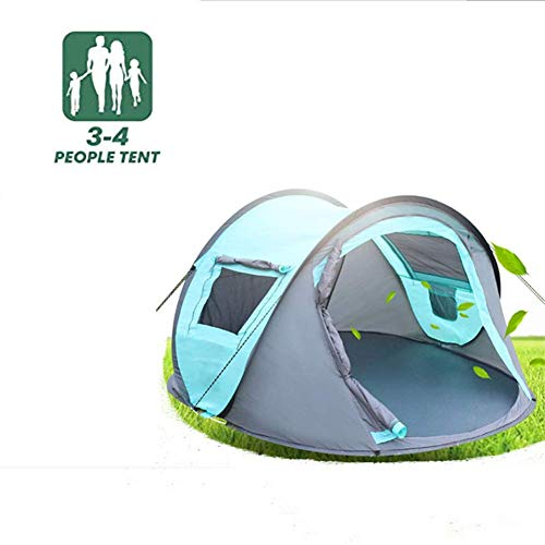 WYJBD 4 Person Portable Folding Easy Pop Up Tent, Double Zipper Design, Breathable Comfortable Sturdy Durable, Waterproof Anti-UV, For Camping Trip Beach Hiking