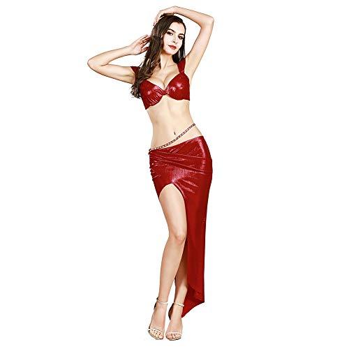 ROYAL SMEELA Bauchtanz Rock BH Set Frauen tanzen Kostüme Geschlitzte Maxiröcke und BH Sexy Anzüge mit Taillenkette Übergröße Bauchtanz Kostüm