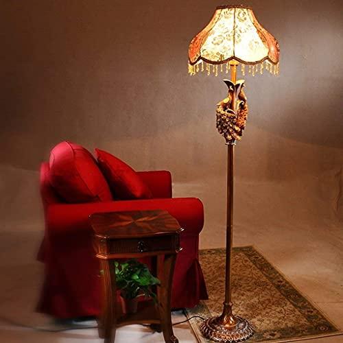 LHJCN Lámpara de pie Europea, lujosamente Decorada, Sala de Estar, Dormitorio, Luces, Arte Retro Decorativo, lámpara de pie Americana de Resina / E27