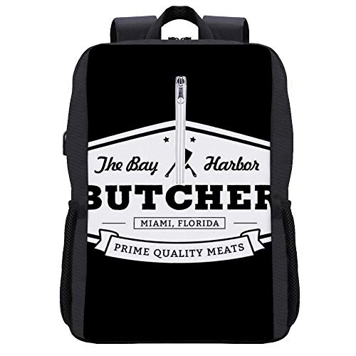 The Bay Harbor Butcher Dexter Backpack Daypack Bookbag Laptop School Bag with USB Charging Port