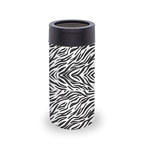 Smart Coolers - New 2020 Slim Can Cooler Coozie for White Claw Sleeve 12 oz Skinny Can - Soft Insulated Slim Sleeve for Beer, Soda & Cold Beverages - Standard Size Can Coozie Holder - Zebra