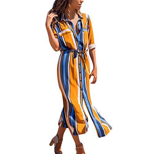 Ansenesna Kleid Gestreift Damen Wadenlang mit Schlitz Elegant Kleider Frauen mit Gürtel Langarm Hemdkleid