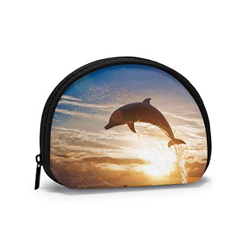 I delfini saltano sulla superficie Sphinx Cat Portamonete Portamonete Portamonete Portafoglio per rossetto con chiave di carta