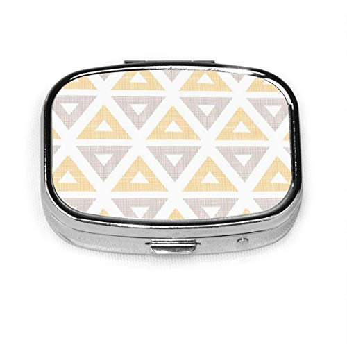 Colorful Arrow Abstract Ikat Yellow Brown Triangles Gray Clip Square Pill Box Decorative Boxes Pill Case Medicine Tablet H