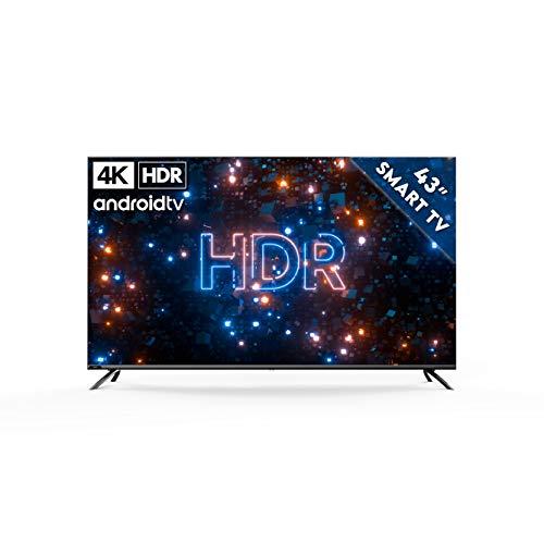 Kagis U43IP7UHD Moniteur TV sans tuner 4 K Ultra HD, HDR, sans tuner, Smart TV, Android TV 9, télécommande avec microphone, vidéo, Netflix et YouTube 109 cm (43')