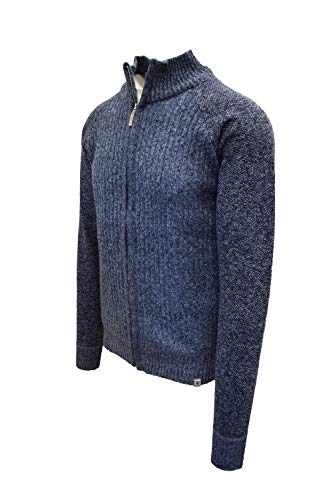 STACY ADAMS Men's Full Zippered Winter Sweaters (XL, C-Blue)