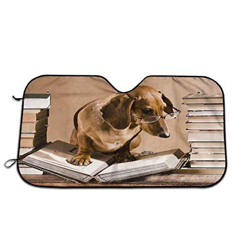 VJSDIUD Parabrisas de Coche Visera con protección UV Parasol de Coche 27,5 x 51 Infor Easy Use Dachshund Book Worm Salchicha Perro Cachorro Divertido