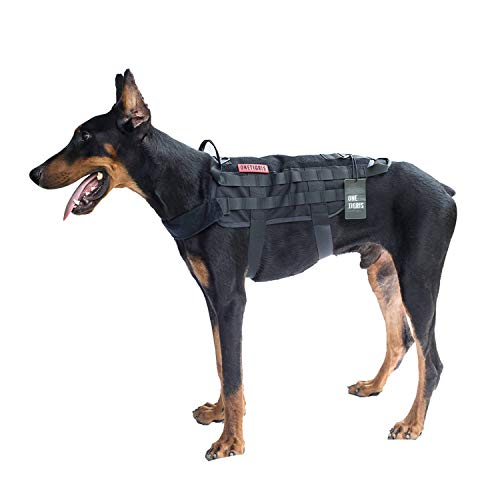 OneTigris Tactical Dog Training Vest Harness with Mesh Padding and Two Handles (Black, XL / 54cm)
