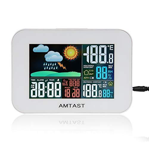 AMTAST Funkwetterstation Temperatur-Luftfeuchtigkeitsmesser Buntes LCD-Display mit wetterbeständigem Fernbedienungssensor