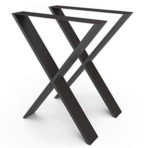 sossai® Design Gambe per tavolo in acciaio   Forma X   TKX3   colore: nero   Set di 2   struttura tavolo   larghezza 60 cm x altezza 72 cm   Profilo: 100 x 20 mm