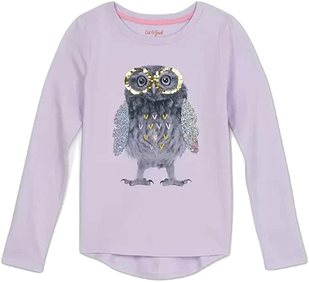 Cat & Jack Girls Long Sleeve Flip Sequin Dinosaurs T-Shirt