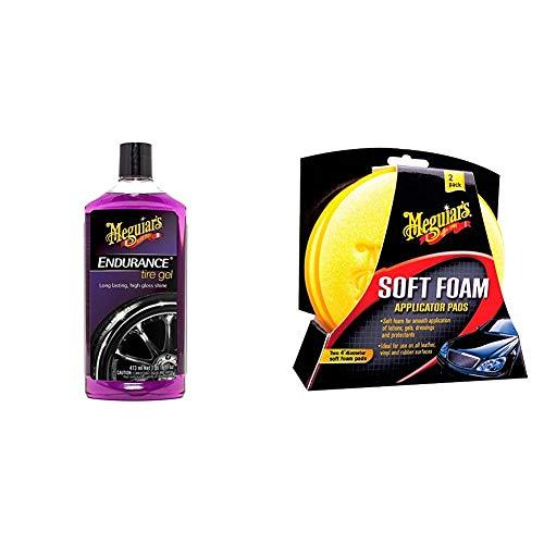 Meguiar's G7516EU Endurance High Gloss Tyre Gel Reifenglanz, 473 ml & X3070 Soft Foam Applicator Pads Auftragsschwamm, 2-er Pack
