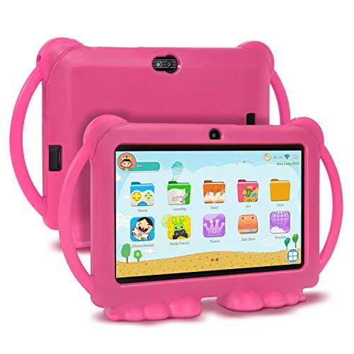 Xgody Kids Edition Tablet, 7-Zoll-HD, Kindersicherung, Android 8.1 GMS, 16 GB, Quad Core, Pinke kindgerechte Hülle