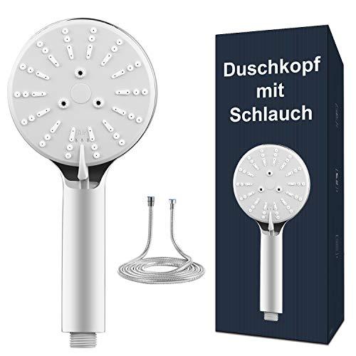 Handbrause Duschkopf mit Schlauch, Dothnix Duschbrause mit Schlauch 1.5M, Wassersparender Duschkopf, Öko Duschkopf Druckerhöhend, Druckluftgetriebene 4-Modi Einstellbare Chromausführung.