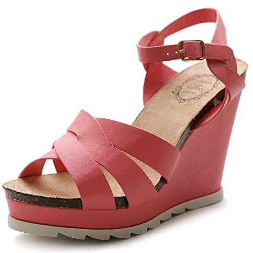 Ollio Mujer Sandalias de cuña de zapato del alto talón plataforma correa