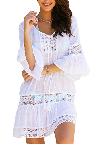 Wander Agio Womens Loose Cover up Beach Swimsuit Beach Bikini Coverups OneSize Lace White