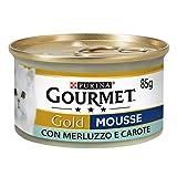 Purina Gourmet Gold Húmedo Gato Mousse con Bacalao y Zanahorias delicadas, 24 latas de 85 g Cada una de Las 24 Unidades de 85 g