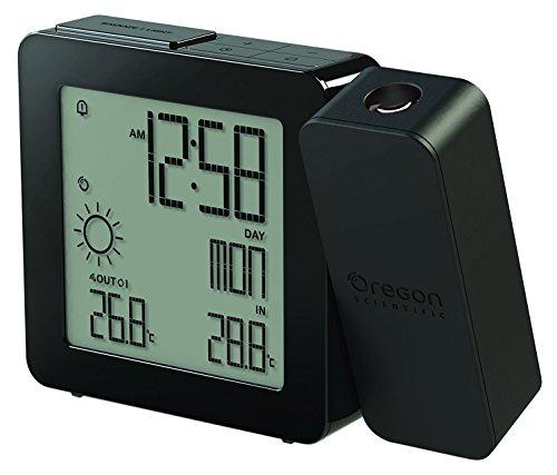 Oregon Scientific BAR368P - Estación meteorológica con reloj despertador, temperatura interior y exterior, alarma dual, pantalla LCD a color, USB, crema