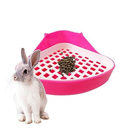 SovelyBoFan Baao de Conejo Bandeja de Camada,Cuarto de Baao para Animales Pequeeos Orinal de Esquina,Rincón de Bandejas para Animales Domésticos para Conejo,Hamster (Rosado)