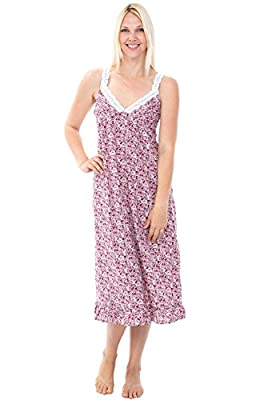 Alexander Del Rossa Womens 100% Cotton Lawn Nightgown, Sleeveless Deep V Gown, X-Large Floral Bloom (A0589V83XL) from Alexander Del Rossa
