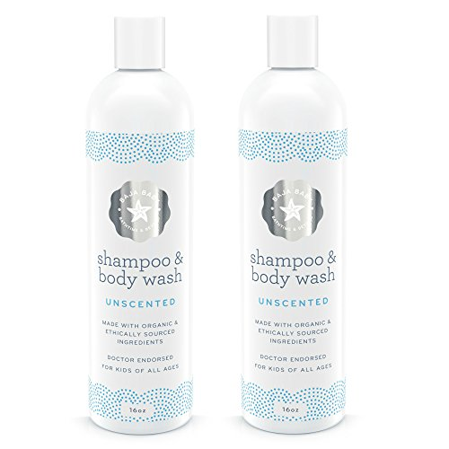 Organic Baby Shampoo and Body Wash Unscented - Set of 2. All Natural EWG Verified Baby Shampoo. Gluten Free and PETA Approved, Safe for Sensitive Skin and Cradle Cap. 16 Ounces Each