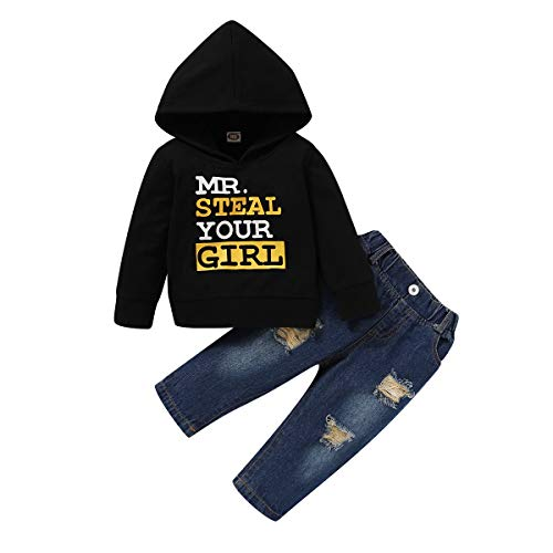 T TALENTBABY Kleinkind Baby Jungen Langarm Hoodie Kleidung Sets Pullover Sweatshirt Kapuze Letter Printed Tops + Zerrissene Jeanshose Infant Outfits Set, Schwarz Blau, 2-3 Jahre