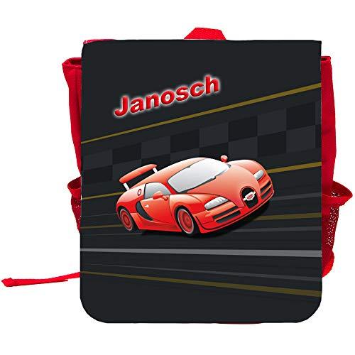 Kinder-Rucksack mit Namen Janosch und schönem Racing-Motiv | Rucksack | Backpack