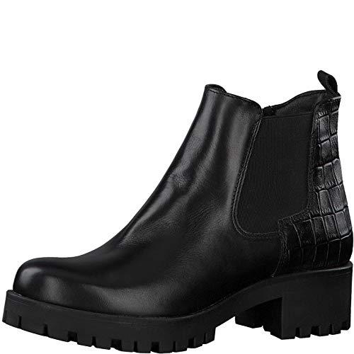 Tamaris Damen Stiefeletten, Frauen Chelsea Boots, hoch weiblich Lady Ladies Women's Women Woman Freizeit leger Stiefel,Black/Struct,39 EU / 5.5 UK