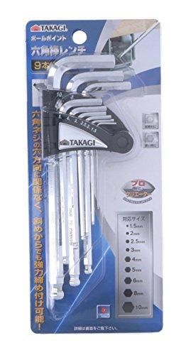 高儀『ボールポイント六角棒レンチ9本組(TKG-1156350)』