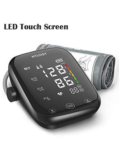 Blood Pressure Monitor Upper Arm, HYLOGY LED Touch Screen and Voice Broadcast Blood Pressure Machine, Adjustable Blood Pressure Cuff with 2-Users 180-Reading Memories Support Type-C Charge