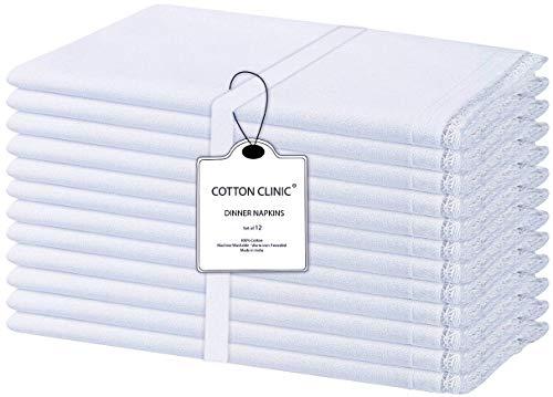 Baumwolle-Klinik 12er-Set Stoffservietten, Rustikal Servietten Hochzeit mit Spitze, 100% Baumwolle Servietten Weich Gemütlich Maschinenwaschbar - 50x50 cm Weiß