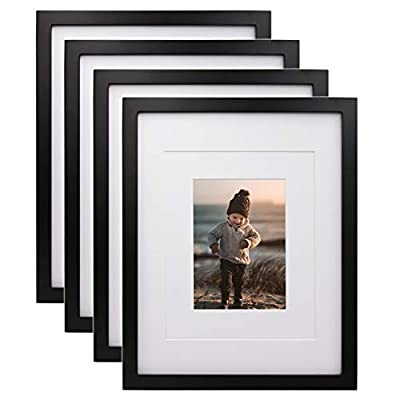 KINLINK 11x14 Picture Frames Black, Wood Frames with HD Plexiglass for Pictures 5x7/8x10 with Mat or 11x14 Without Mat, Tabletop and Wall Mounting Display, Set of 4