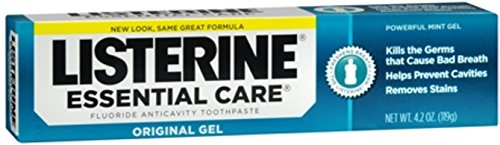 Listerine Essential Care Original Gel Fluoride Toothpaste, Prevents Bad Breath and Cavities, Powerful Mint Flavor for Fresh Oral Care, 4.2 oz ( pack of 6 )