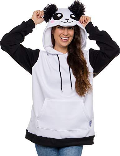 Funziez! Unisex Panda Animal Hoodie Sweater - Lightweight Long Sleeve Novelty Bear Pullover Costume Sweatshirt (Black, Medium)