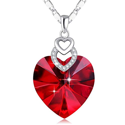 SUE'S SECRET 3 Heart Necklace Ruby Crystals from Swarovski for for Women Girls Pendant with Elegant Box Anniversary Red Jewelry Gift for her