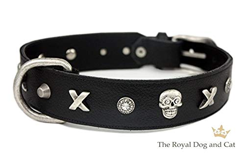 Profi-Tack Halsband Piraten by The Royal Dog and Cats - schwarz/antik Gr. 42-47cm