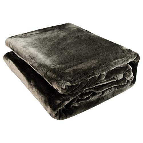 Kuscheldecke mit Bestickung - Grau - personalisierte Decke Fleecedecke mit Name XXL Wohndecke