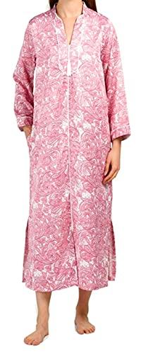 Miss Elaine Brushed Back Satin Paisley Long Zipper Robe (Wine, X-Large)