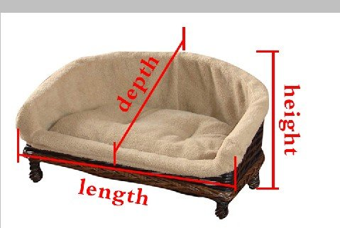 Easypet Half Moon Style Handmade Luxury Wicker Pet sofa,dog sofa, dog couch, basket&cushion Colour can exchange,4 Diff Sizes,UK2209