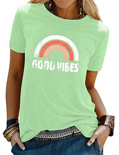 Dresswel Damen T-Shirt mit Nettes Regenbogen Muster Rundhals Kurzarm Oberteile Good Vibes Brief Drucken T-Shirts Hemd Tops Bluse (Green, S)