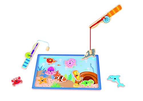 Tooky Toy Jeux en bois - Animaux marins Jeu de peche en bois pour enfants, Multicolore, 29.5 x 21 x 0.8 cm