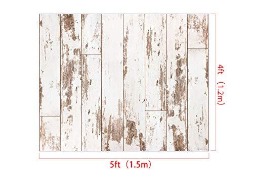 Kate 1.5x1.2m Fotografia Tappetino in gomma Retro in legno bianco Tappetino in gomma per bambini Fotografia Supporto in gomma Decorazione