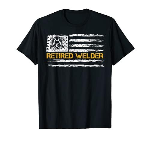 Vintage USA Bandera Americana Retirado Soldador Retirement Soldadura Camiseta