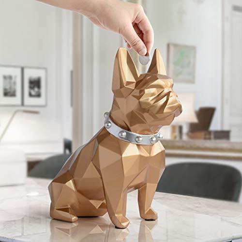 Coin Storage Box French Bulldog Resin Piggy Bank Money Organizer Hand Paint Sculpture Child Dog Lover Gift Home Decoration (Gold)
